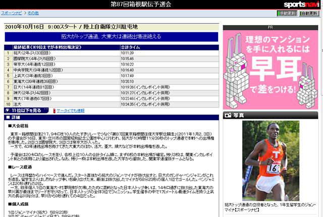 第87回箱根駅伝予選会 拓大がトップ通過、大東大は連続出場途絶える