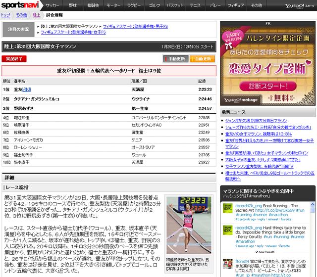 第31回大阪国際女子マラソン 重友が初優勝 福士は9位